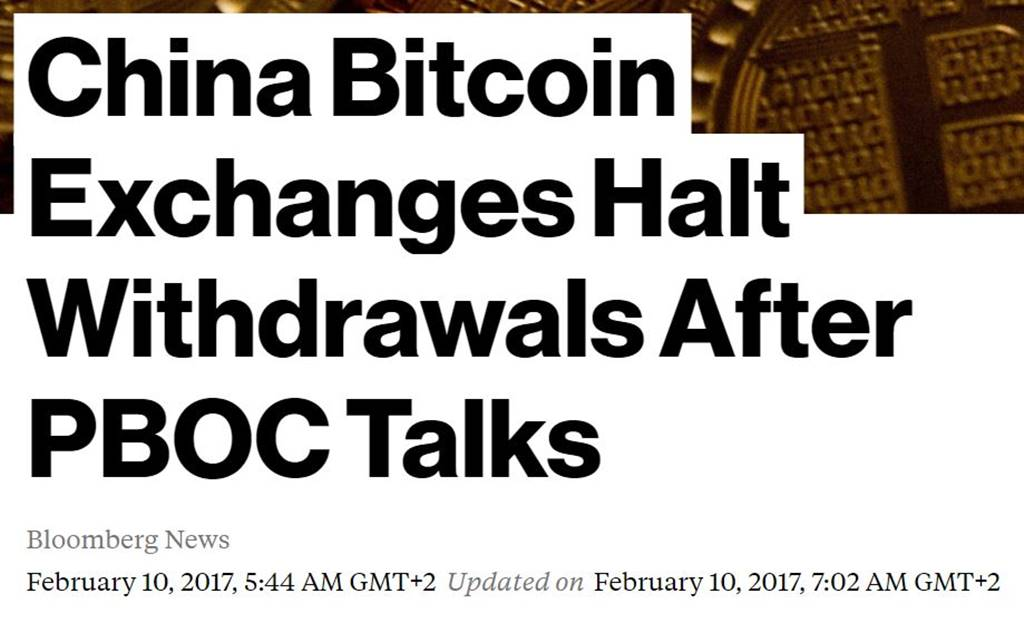 February 2017 Chinese exchanges halt withdrawals