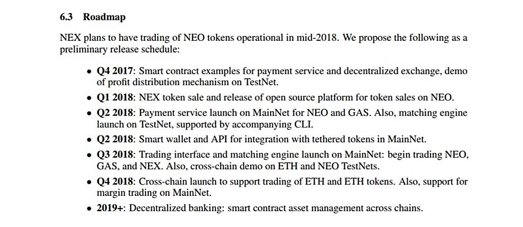neon exchange ico roadmap